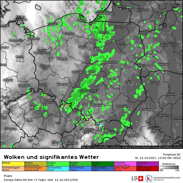 Opady w środę 13 października nad Polską