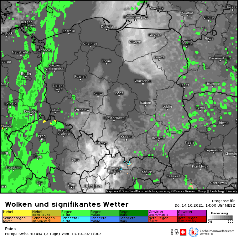 Opady deszczu nad Polską w czwartek 14 października