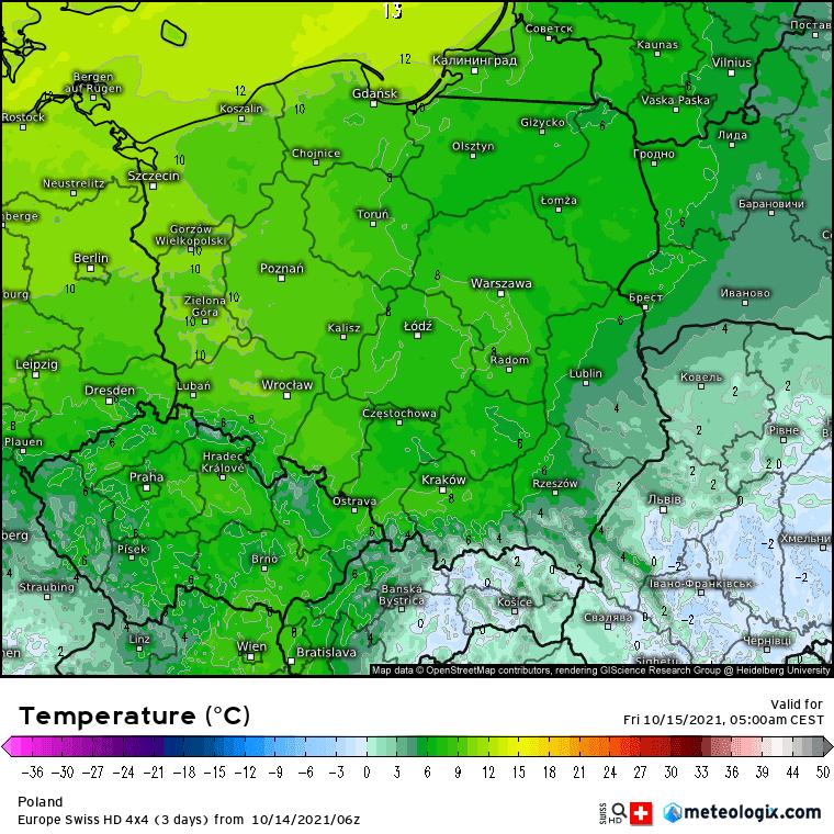 Pogoda na noc 14/15 października 2021. wzrost temperatury